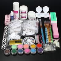 Wholesale Nail Acrylic Powder Kits - Professional Nail Art Set Kit Acrylic Powder Liquid Glitter Glue Toes Separators Brush Tweezer Primer Tips Decorations