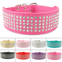 Wholesale Wholesale Wide Leather Dog Collar - Pet Products 2 inch Wide 5 Rows Jewerly Rhinestone Studded Bling Leather Dog Collars Diamante Pet Collars