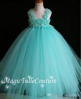 Wholesale Christmas Shabby Flowers - Aqua Flower Girl Dress Shabby Chic Flowers Dress Tulle Dress Wedding Dress Birthday Dress Toddler Tutu Dress
