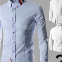 Wholesale Korean Slim Fit Shirts Brand - Men's dress Slim Fit Casual Blouse Brand Casual Shirts 2016 New Spring Korean Type Mens shirts long sleeve collar shirt