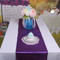 Wholesale Purple Satin Table Runners - New Arrival 12 Inch X 108 Inch Purple Satin Table Runners Wedding Banquet Cloth For Holiday Favor Party Supplies Free Shipping