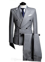 Wholesale Light Mens Suits - Double-Breasted Side Vent Light Grey Groom Tuxedos Peak Lapel Groomsmen Mens Wedding Tuxedos Prom Suits (Jacket+Pants+Tie) G1671