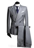 hellgrauer anzug krawatte großhandel-Zweireiher Side Vent Hellgrau Bräutigam Smoking Peak Revers Groomsmen Mens Hochzeit Smoking Prom Anzüge (Jacke + Hose + Tie) G1671
