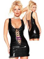 Club Dress Hot Sexy Black Party Frenzy Clubwear Sexy pizzo in vinile UP Night Out Abito in pelle W7035