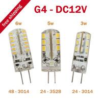 Wholesale T8 12v Led - 10pcs lot G4 LED Bulb Lamp 3W   5W   6W 3014 SMD 24 LED Light Bulb Whie   Warm White DC 12V LED Lighting, dandys