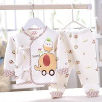 Wholesale Cheapest Wholesale Shirts Free Shipping - Wholesale-(2pcs set)cheapest Newborn Baby Clothing Set Brand Baby Boy Girl Clothes 100% Cotton warm Cartoon Underwear,Free Shipping JT010