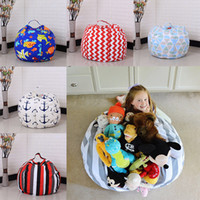 Wholesale Toy Fabric Ships - 45cm Kids Storage Bean Bags Plush Toys Beanbag Chair Bedroom Stuffed Room Mats Portable Clothes Storage Bag 32 Color Free Ship WX9-169