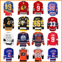Wholesale Howe Jersey - 99 Wayne Gretzky 66 Mario Lemieux 9 Bobby Hull Hockey Jersey 9 Gordie Howe 4 Bobby Orr 33 Patrick Roy 88 Eric Lindros Leetch Messier Jerseys