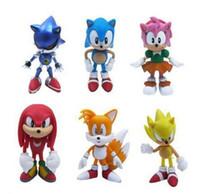 brinquedos de sônica sonora venda por atacado-1 Conjunto de Varejo 6 Pçs / set Anime Dos Desenhos Animados Sonic The Hedgehog Figura Ação Set Boneca Brinquedos Frete Grátis