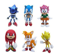 ingrosso figure di cartone animato-1 Set 6Pcs / set al minuto Anime Cartoon Sonic The Hedgehog Figure Action Set Doll Toys Spedizione gratuita