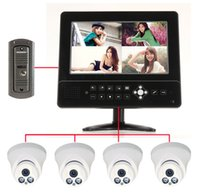 """Wholesale Door Phone Dvr - Built in 4CH CCTV DVR Recorder 9"""" LCD Video Door phone Surveillance Monitor with 4 900TVL Cameras Kit Home Security System"""