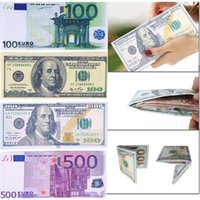 Atacado- Chic Unisex Mens Womens Currency Notes Padrão Pound Dollar Euro Purse Wallets 2017 Fashion