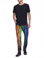 Wholesale Colored Drawing Jeans - Men's Painted Jeans Male Slim Colored Drawing Thin Jeans Pattern Printed Cool Denim 3D Graffiti Jeans
