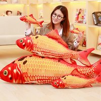 Brinquedo Realistic Soft Fish Recheado Bom Lucky Red Fish Animals Peluches Doll 130cm Modelos 51inch 6