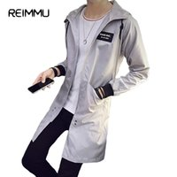 Wholesale Trench Coats Sale - Wholesale- Reimmu Mens Long Coat Plus Size 5XL Fashion Mens Trench Coat Male Jacket Male Famous Brand Clothing Casual Men Trench Coat Sale