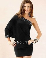 Wholesale One Shoulder Sequin Batwing Dress - Sexy One Shoulder Sequined Dress Women Batwing Sleeve Bodycon Casual Dress Evening Party Club Dress Women Clothing 0317