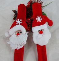 Wholesale Deer Bangle Bracelet - Christmas Ornament Christmas slap bracelet bangle Xmas pat circle hand ring Santa Claus snowman bear deer bracelet Christmas gift toy Free