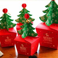 5 Pcs / Set Cute Fashion Baby Kids Xmas Bags Paper Carrier Jar Sugar Box Árvore de Natal Bell Sweets Boxes Gold Ribbons and Bell