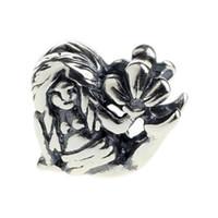 925 meerjungfrau charme großhandel-Beads Hunter Jewelry Authentische 925 Sterling Silber Liegende Mermaid Charm 4,5 mm großes Loch Perle für 3mm europäischen Armband Schlange Kette Armreif