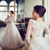 Wholesale Lace Top Classic Wedding Dress - Top Selling Classic Wedding Dresses Appliques Ruched Tulle Long Sleeves Bateau Neck Formal Bridal Gowns High Quality Elegant Sheer Sexy