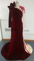 Wholesale Jewel Velvet Dress - Burgundy Velvet Evening Dresses Mermaid Crew Neckline with Ruffles and Contrasted Nude Color with Long Sleeves Formal Gowns Middle East
