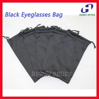 Wholesale Microfiber Pouch Wholesale - Wholesale-50pcs Quality Black Eyeglasses Bag Glasses Pouch 18.5x9cm 175gsm microfiber 100% Polyester Two Pull Ropes Free Shipping
