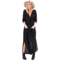 Wholesale Sexy Kimono Deep V - New Design Vestidos Summer Autumn Women Casual Loose Deep V Neck Long Maxi Dress Sexy Split Chiffon Dress Plus Size Gray Green Black