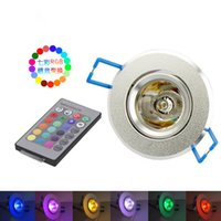 Wholesale dj wall - 3W 85-265V RGB Ceiling Downlight Ceiling Light Wall Lamp Recessed Lamp Spotlight with Remote Control RGB LED Bulb KTV DJ Party LED Spotlight