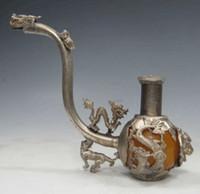 ingrosso trasporto libero degli antiquari cinesi-Tubo d'argento della giada fatto a mano antico cinese degli oggetti d'antiquariato che conduce trasporto libero
