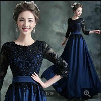 Wholesale High Neckline Beaded Dress Sheer - 2015 free shipping blue chiffon evening dresses lace appliques with scoop neckline sashes 34 sleeve modest formal prom party evening dress