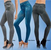 jeans jeggings mujer s al por mayor-Jeggings Jeans Leggings Mujer Terciopelo Leging Jeans Azul Negro Jeggins Ladies con bolsillos reales Denim Flaco Legging Pants