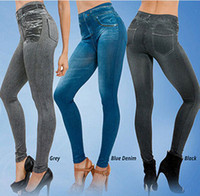 Wholesale Leggings Knit - Jeggings Jeans Leggings Women Velvet Leging Jeans Blue Black Ladies Jeggins with Real Pockets Denim Skinny Legging Pants