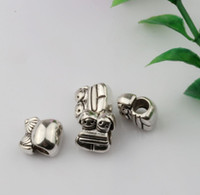 Wholesale Cute Silver Flats - Hot ! 100pcs Antique silver alloy Cute Twins Girl Large Hole Bead Fit European Charm Bracelet 11 x 12mm