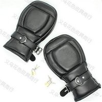 Wholesale Ankle Cuffs Padded - 2015 Bondage Handcuffs Black Leather Deluxe Padded Fist Mitts Sex Toys BDSM Bondage Handcuffs Adult Sex Products for Couple BJ292904