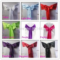 Wholesale Turquoise Satin Chair Sashes Wholesale - Wholesale-Free shipping--100pcs Turquoise Satin Chair Cover Bow Tie Satin Chair Sash For Banquet Wedding Decoration