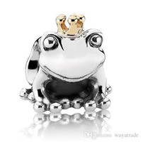 Wholesale Prince Jewelry - New58 195 Fashion Frog Prince Charm 925 Sterling Silver European Charms Bead Fit Bracelets Snake Chain DIY Jewelry Wholesale