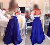 Wholesale Cut Out Back Evening Gowns - 2015 Evening Dresses Royal Blue Lace Appliques Chiffon Long Sleeve Cut Out Back Chiffon Floor Length Evening Gowns Dhyz 01
