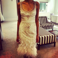 Wholesale Sequin Feather Cocktail Dresses - White Luxury Beaded Short Cocktail Dresses 2015 Knee Length Sheath Prom Dresses Evening Party Gown Feathers vestidos con plumas