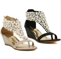 sapato de pérolas de pérola venda por atacado-Strass zipper pérola frisada de salto alto ouro bege cunhas pretas sandálias mulheres sapatos verão 2013