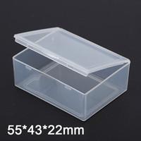 rechteckiges gehäuse großhandel-Kleine Kunststoffbox rechteckig transparent 5,5 * 4,3 * 2,2 cm PP Lagerung Sammlungen Container Box Fall Kleinigkeiten Kunststoff-Box
