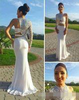 Wholesale White One Sleeve Prom Dress - 2015 New Hot Prom Dress White Chiffon One Shoulder and Blink Rhinestones Long Sleeve Mermaid Evening Dress