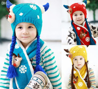 Wholesale Baby Chrismas - Wholesale-Funny Chrismas Gift For Children!Cartoon Deer High Quality Winter Baby Hat Scarf Sets Knit+Velvet Warm Cap Scarf Free Shipping
