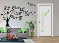 Wholesale Vinyl Wall Tree Decals - Free Shipping:Large 200*250Cm 79*99in Black 3D DIY Photo Tree PVC Wall Decals Adhesive Family Wall Stickers Mural Art Home Decor