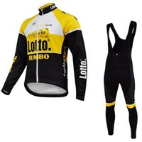 Gros-OUATINE THERMIQUE D'HIVER 2015 LOTTO JUMBO PRO TEAM long cyclisme manches Jersey Bike vélos Porter + Salopette Taille XS-4XL GEL Pad
