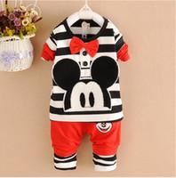 Wholesale Baby Long Sleeve Stripe Top - Children Clothing 2pcs Set Long Sleeve Stripe Top + Pants Baby Cartoon Bowknot Suit Spring Child Wear