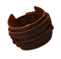 Wholesale Vintage Rhinestone Belts - Retro Leather Braided Men Wrap Punk Bracelet Bangles Gifts Wristband Belt Handmade Vintage Bracelet Genuine Cowhide Leather Bracele
