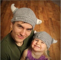 Wholesale Kids Knit Viking Hats - 2014 new Children's winter hat handmade crocheted Viking horns hat knitted kids hat caps free shipping, MZ92