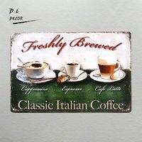 Wholesale Italian Style Coffee - DL- Vintage home decor Classic Italian coffee wall sticker Wall Art Metal Decor Posters coffee shop wall art