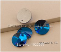 Cuentas brillante Flatback costura cristal de vidrio # 3200 8mm Blue Zircon color 336pcs