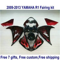 Wholesale Customize Yzf R1 - Customize motorcycle fairings for YAMAHA YZF R1 2009 2010 2011 2012 2013 bodywork set YZF-R1 red flames in black fairing kit 09-13 HA73